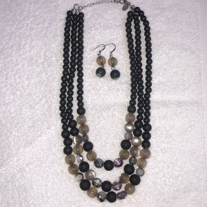Black and gray necklace and earring set